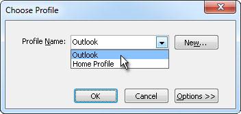Choose profile dialog box