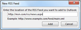 Enter the URL for the RSS Feed