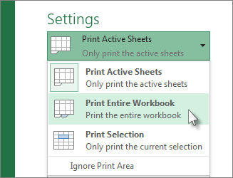 Under Settings, click Print Entire Worksheet