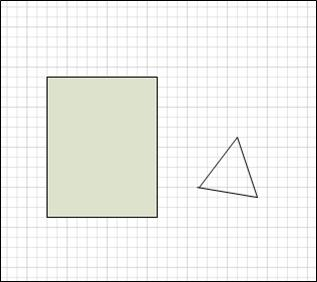 A closed rectangle and an open triangle