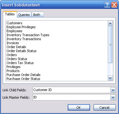 selecting the primary field for subdatasheet
