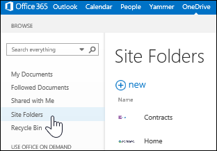 Select site folders to find sites you're following that contain document libraries