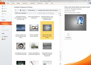 Viewing the Example slide effects with instructions folder in the PowerPoint backstage
