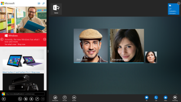 Screen shot of Lync side by side view
