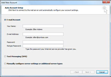 Add New Account dialog box with E-mail account selected