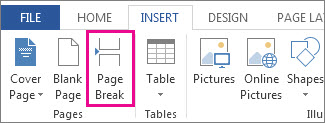 How to insert a page break