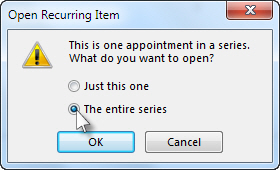 Select the entire meeting series option
