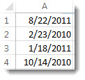 Unsorted dates in a worksheet
