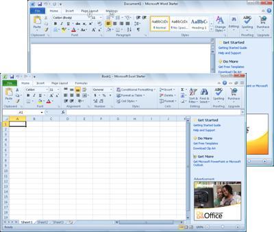 Word Starter and Excel Starter