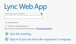 Lync Web App Join screen for a Lync 2013 Meeting