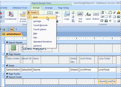 Adding totals to a report in Design view