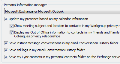 Lync 2010 personal information manager options