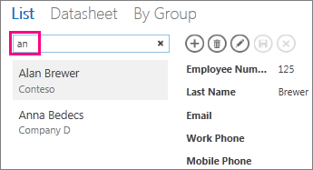 Using the search box in list view