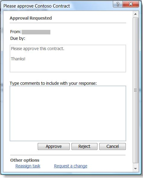 Task completion form for the Approval workflow