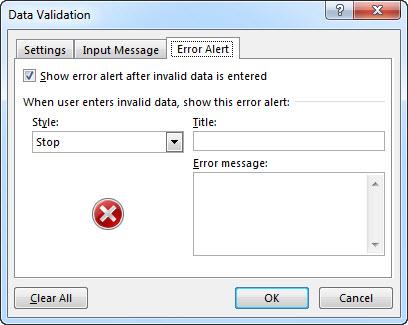 Error Alert tab