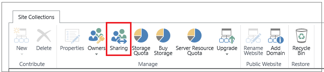 ribbon from SharePoint Online admin center with Sharing button highlighted