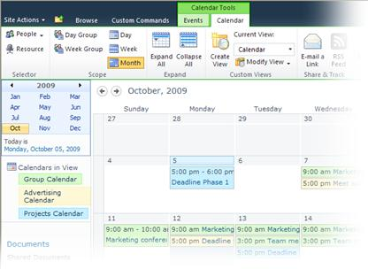 Using multiple calendars in SharePoint