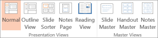 PowerPoint Views on the View tab