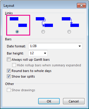 Layout dialog box
