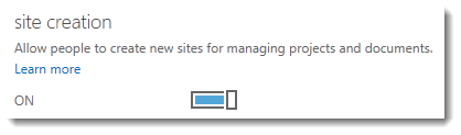 A picture of the site creation switch