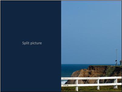 Transition effect for split picture, slide 1
