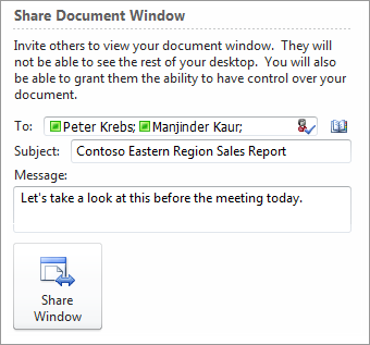 Start a Lync 2010 sharing session from the Office 2010 File tab