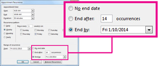 Change recurring meeting end date option