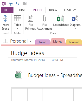 Insert a new spreadsheet right on the page