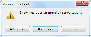 Dialog box to change which folders use Conversations