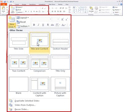 The Home tab, in PowerPoint 2010, looking at the Slides group.