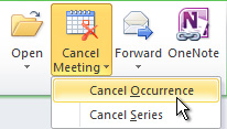 Cancel Occurrence command on the ribbon
