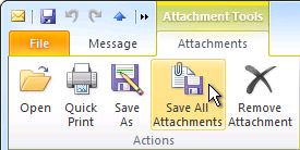 Save All Attachments command on the ribbon