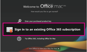 Sign in to an existing Office 365 subscription