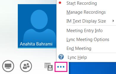 Screen shot of more options in Lync meeting