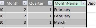 Month Name column