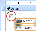 A layout selector on a form in Design view