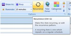 Recurrence option in Outlook 2007
