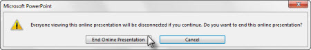 End online presentation dialog box