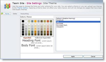 Site theme settings