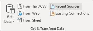 Get External Data group on Data tab