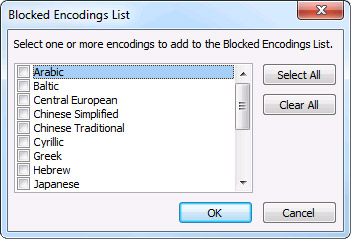 Blocked Encodings List dialog box