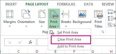 Clear print area