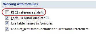 R1C1 reference style check box in Excel Options dialog box