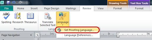Publisher Ribbon Language button