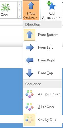 Effect Options button in the Animations group