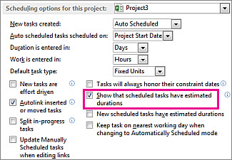 Options dialog box, Schedule tab, scheduling options for this project area
