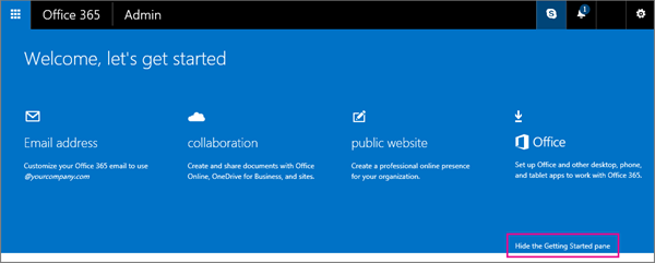 Getting Started page for Office 365 Small Business Premium