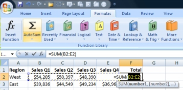 Using AutoSum to quicky add a row of data