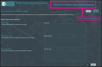 Screen shot showing the link to click to configure page property mappings