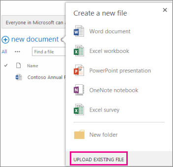 Screenshot of new document dialog with Upload Existing File button highlighted